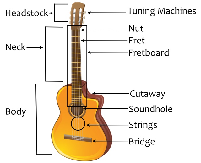 the parts of the guitar knowing your instrument musilesson. Black Bedroom Furniture Sets. Home Design Ideas